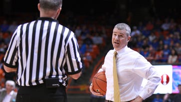 Boise State coach Leon Rice, right, questions a call by official Bob Steffan during a Jan. 30 loss to New Mexico. The Broncos, who visit CSU on Wednesday night, have lost three of their past four games after winning 12 of their previous 13