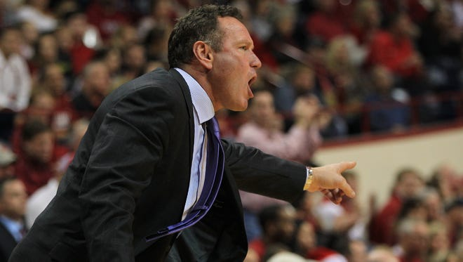 Dec 13, 2014; Bloomington, Ind.;  Grand Canyon coach Dan Majerle reacts during the first half against the Indiana Hoosiers at Assembly Hall.