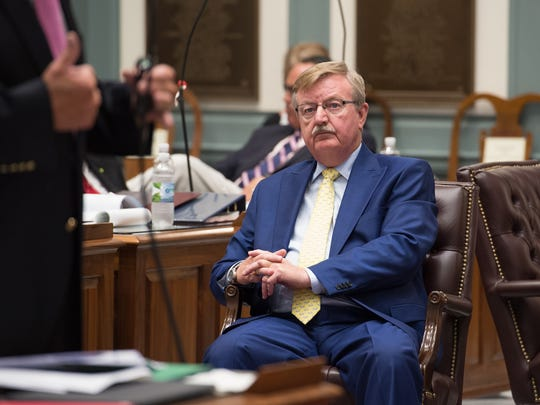 Senate Minority Leader, F. Gary Simpson, R-Milford during the second-to-last day Legislative Session in Dover.