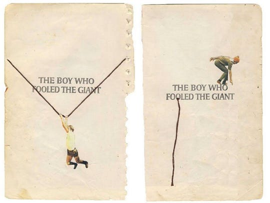 """Hollie Chastain, """"Fooled the Giant,"""" 2017, mixed media"""