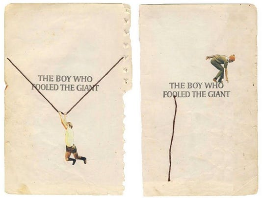 "Hollie Chastain, ""Fooled the Giant,"" 2017, mixed media on book cover, 10x8.75""."