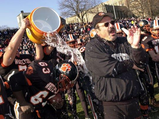 White Plains' coach Mark Santa-Donato, right, gets
