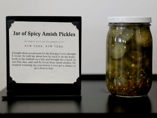 A jar of pickles purchased for a first love is displayed