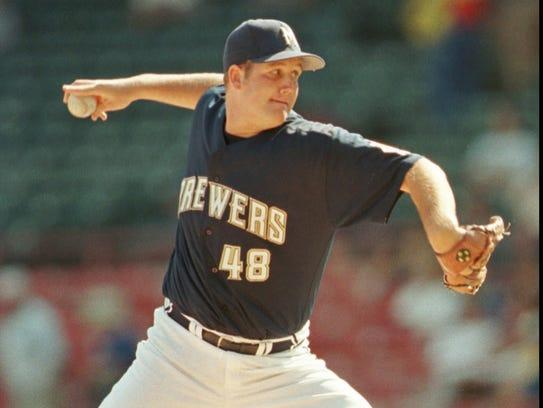 Milwaukee Brewers' starter Steve Woodard delivers a