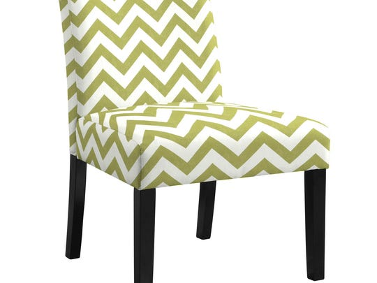 Crisp, contemporary green and white chevrons make a bold statement on this Europa slipper chair from AllModern. Bright greens like lime, apple and chartreuse are part of a trending palette for spring.