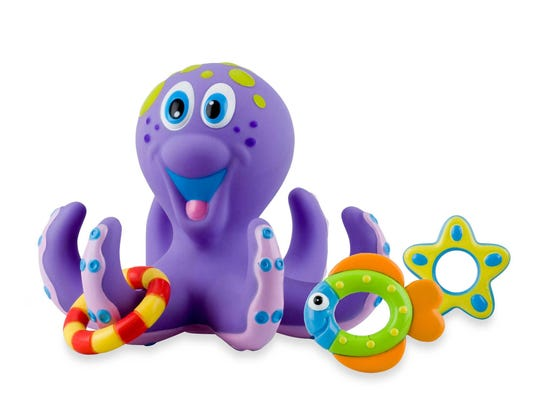 Help little ones develop hand-eye coordination with the Nuby octopus bath-time toss. $6.99 at Buy Buy Baby.