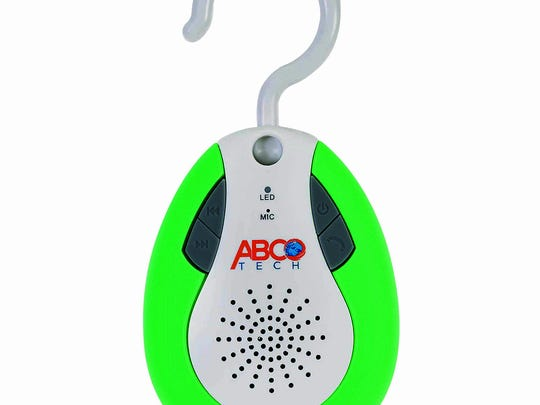 The Abco Tech Bluetooth Shower Speaker Auto FM Shower Radio is designed with a swivel hanger hook. The waterproof speaker can be placed on a showerhead, a curtain rod or a towel hook. Depending on your preference. It can be set to broadcast radio stations on the 88.0 to 108.0 FM dial, or stream music from a connected Bluetooth device.