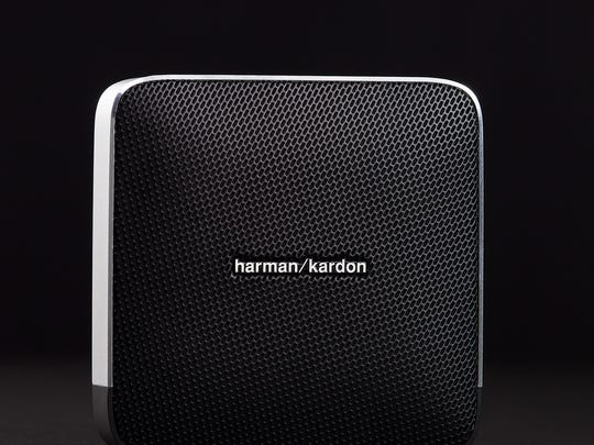 The slender square-shaped Esquire speaker from Harman Kardon is slim enough to tuck into a bag, yet powerful enough to fill a room with big sound.