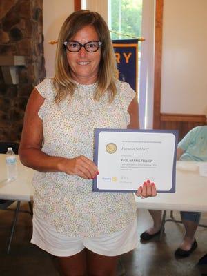 Victor-Farmington Rotarian Pam Rosbrook-Schlierg is named a Paul Harris Fellow.