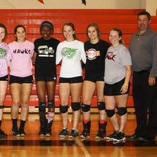 Huron Valley Lutheran's volleyball team consists of (from left) Lydia Gutierrez, Andrea LeFevre, Madison Dest, Anne St. John, Brynn Brown, Nikki Alcini, Ashley Setian and Bethany Schaffer.