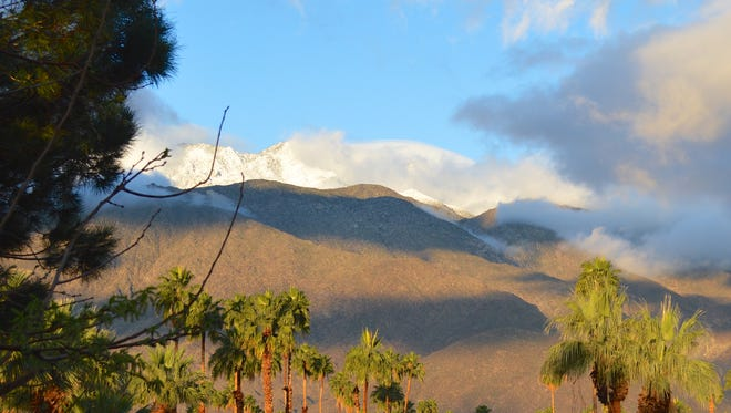Coachella Valley residents were greeted with snow-covered mountains on Monday morning.