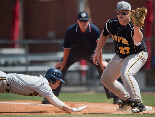 Diving safely back into first against Jasper in the 4A sectional semis, Castle's Griffin Scaggs went 3-for-3 to help spark the Knights to the title on Monday.