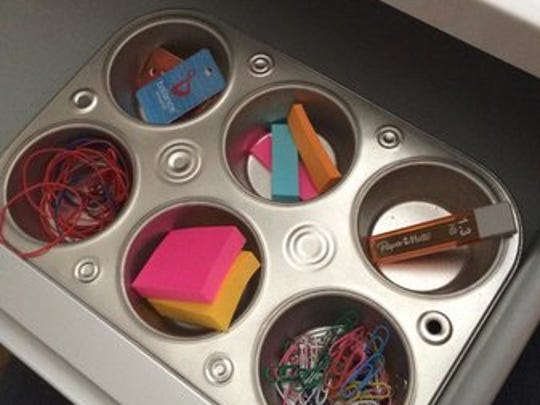 A muffin tin can double as a drawer organizer