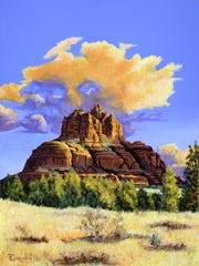 """Sunrise at Bell Rock,"" an acrylic painting by Tim"