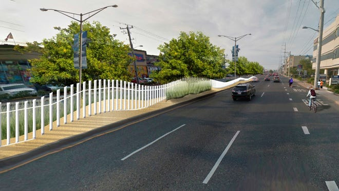 A mock up of the fence will be going in along Coastal Highway in Ocean City.