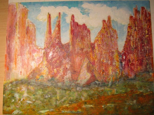 """Among works featured in ArtForms Artists Association member shows at the Branigan Cultural Center and Tombaugh Gallery is """"Red Rock"""" by Linda Choate."""