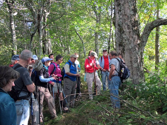 A group on the Walker's Knob hike gathers around to hear Van Burnette share some of the stories that make up the hike's history.