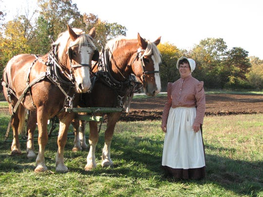 Jackie Schuster, a member of the Jefferson County Draft Horse Association dresses in period costume while volunteering at Old World Wisconsin with a team of draft horses.