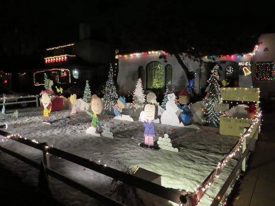 Learn about the history of decorations like this Peanuts display during the inaugural Sip, Taste & Tour Christmas Tree Lane event taking place Dec. 17 in Oxnard.