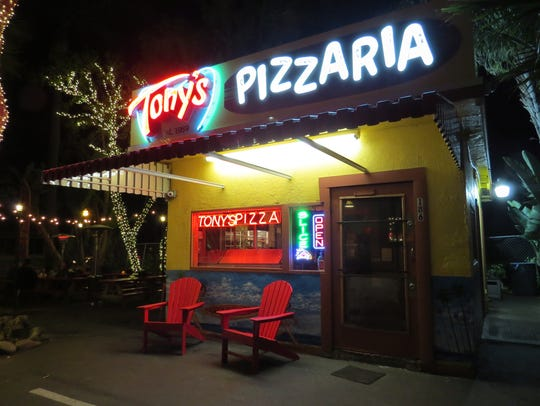 Installed in February, the new neon sign at Tony's