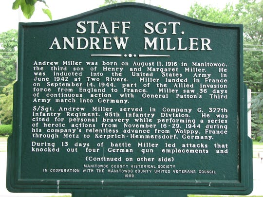 A photo of the Andrew Miller historical marker at the Manitowoc County Veteran's Memorial.