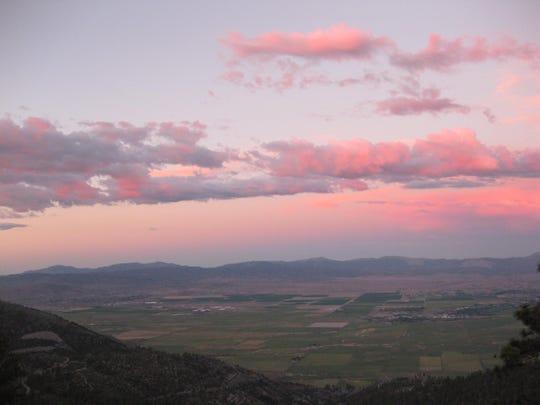 Sunset at Ridge Tahoe resort overlooking the striking Carson Valley.