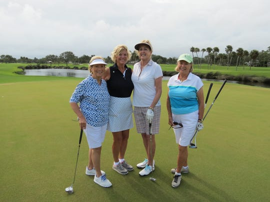 Toni Cherashore, Mary Grimm McClellan, Tina Marshall and Barrie Fahey at the Nine & Shine Tournament.