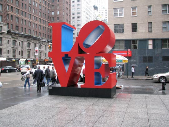 """Robert Indiana's """"LOVE"""" sculpture will be installed in front of Northwestern Mutual's glassy tower as part of this year's installation ofSculpture Milwaukee. It is seen here on the streets of New York."""