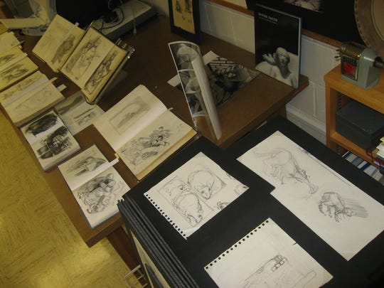 Joe O'Connell sketchbooks are shown in the archives. He was a former artist in residence.