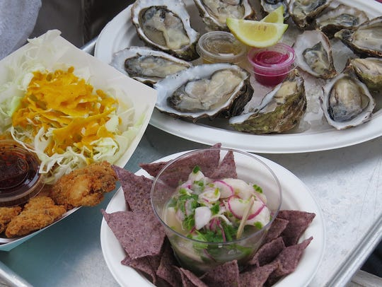 Dishes from the Jolly Oyster Kitchen food truck include