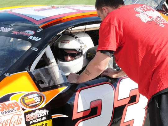 Steve Cox, 30, prepares for the Rusty Wallace Racing