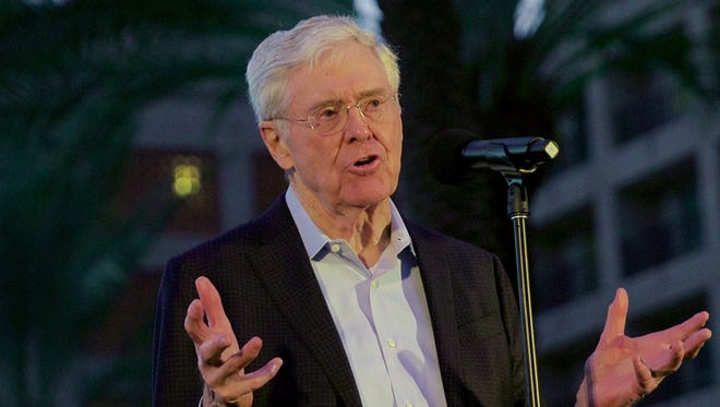 Charles Koch kicks off the Freedom Partners Chamber of Commerce 2016 winter retreat in Indian Well on Jan. 30, 2016.