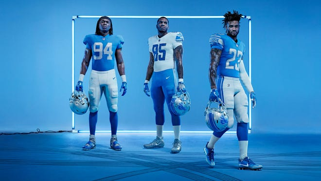 The Detroit Lions unveiled their new uniforms April 13, 2017.