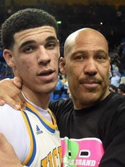 LaVar Ball with son Lonzo Ball on March 4, 2017 after a game at UCLA.