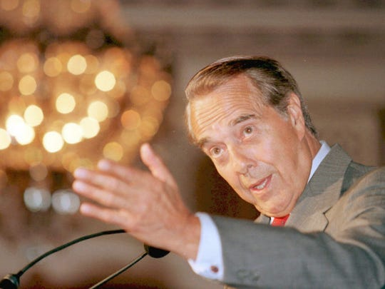 Bob Dole speaks during his 1996 presidential campaign.