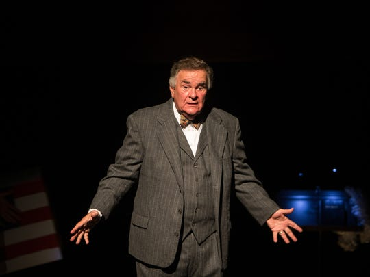"""Wayne Morton rehearses a soliloquy as Alexander Throttlebottom from """"Of Thee I Sing,"""" a George & Ira Gershwin musical, at the Florida Gulf Coast University's Bower School of Music and Arts on Monday, Oct. 3, 2016. TheatreZone and the FGCU drama school are collaborating on the musical that won a Pulitzer prize for spearing American politics in song and dance."""