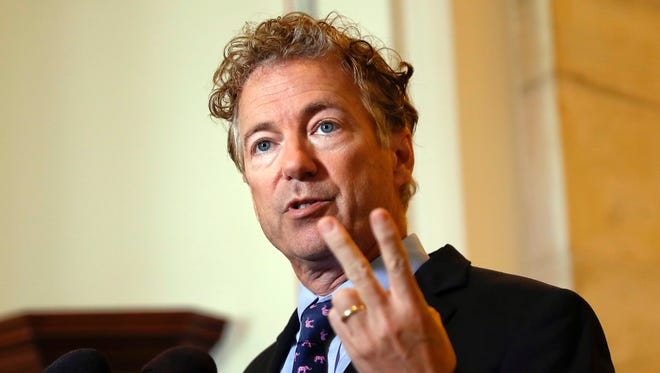 Sen. Rand Paul, R-Ky., speaks Sept. 25, 2017, during a news conference on Capitol Hill in Washington.