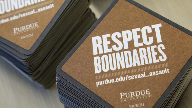 Respect Boundaries coasters carry information about resources at Purdue for preventing and dealing with sexual assault.