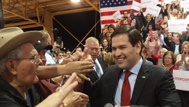 Senator Marco Rubio shakes the hands of supporters during the Florida Kick-Off Rally at the Ronald Reagan Equestrian Center at Tropical Park in Miami, FL on Tuesday, March 1, 2016