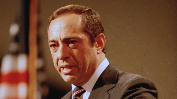 New York Gov. Mario Cuomo delivers his keynote address to the Democratic National Convention in San Francisco on July 16, 1984. Cuomo, a three-term governor, died Jan. 1, 2015, the day his son Andrew started his second term as governor. He was 82.
