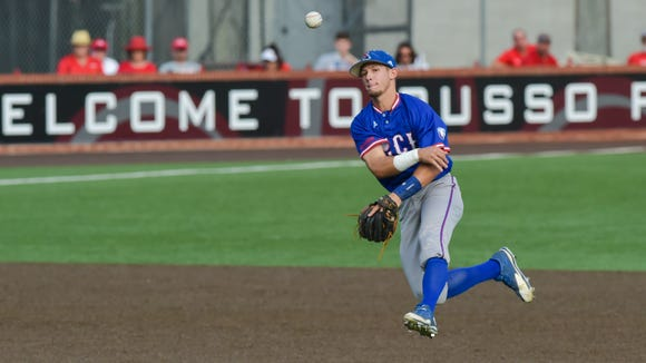 Shortstop Dalton Skelton throws the ball in Louisiana Tech's game Tuesday at UL Lafayette.