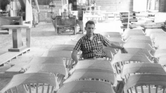 Shelley Hunt sits in his family's furniture shop. During the 1970s. He spearheaded the creation of Webatuck Craft Village along the Ten Mile River in Wingdale.