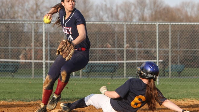 Toms River,   NJ     Lacey at Toms River HS North girls softball:Lacey 2B Kristen Santoro turns two late in the game forcing TRN's Amanda Layce out at second.041715  Photo: Tom Spader