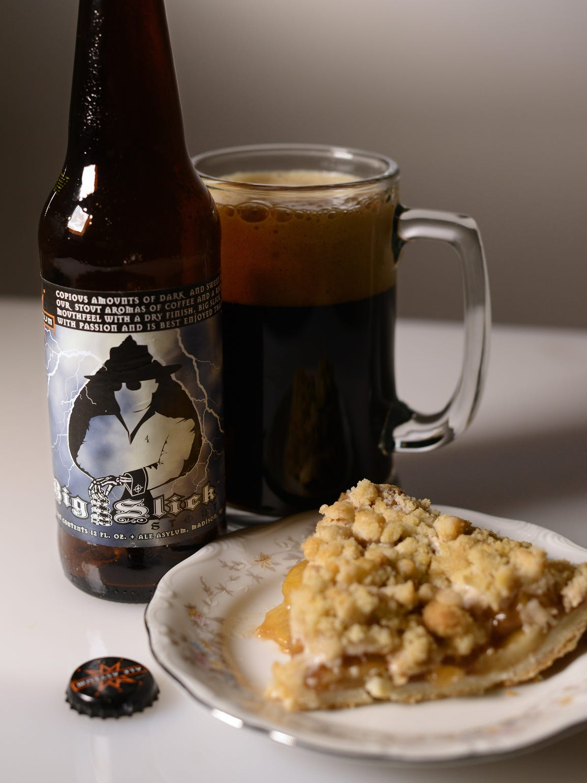 Apple pie paired with Ale Asylum's Big Slick Stout.