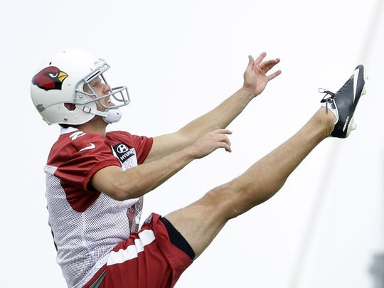 Arizona Cardinals punter Andy Lee during practice on
