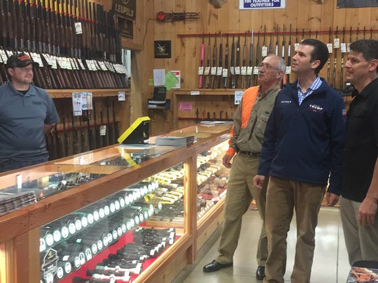 Donald Trump Jr. checks out the gun counter at Fin