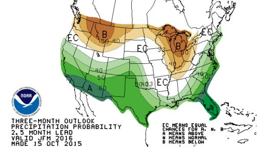 A look at the precipitation probably in January, February and March 2015.