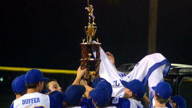 Goodletsville Little League all-star players hoist the trophy after winning the 11-12-year-old state championship on Friday evening.