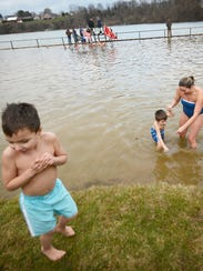 Ethan Baggert, 4, decides not to dip his toes in the