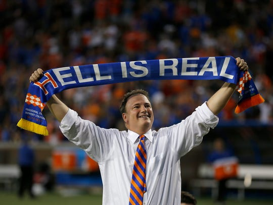 FC Cincinnati general manager Jeff Berding celebrates